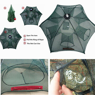 Foldable Shrimp Umbrella Design Crab Net Trap Net Cage Net for Crawfish 6 Holes