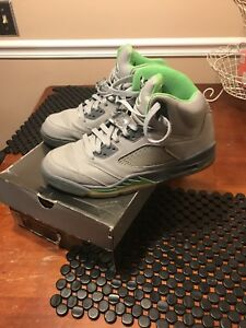 best sneakers 0ca3a 5733e Details about Air Jordan 5 Retro Size 10 Silver/green Green Bean/Flint grey