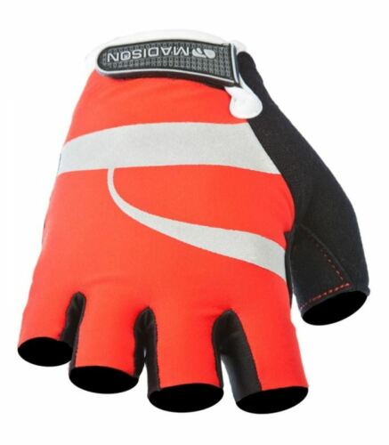 White MEDIUM Madison Echelon Mens Cycling MTB Glove Mitts Red