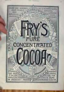 Original-Old-Antique-Print-Fry-039-S-Cocoa-Advert-1896-Over-100-GMedals-Victorian