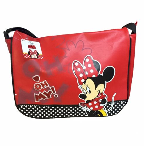 OFFICIAL Disney Minnie Mouse Rosso In Finta Pelle Borsa A Tracolla Messenger-NUOVO