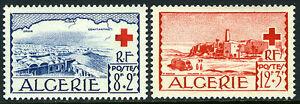 Algérie B67-B68, MNH Rouge Croix. Vues De El Oued Et Bou-Noura, 1952