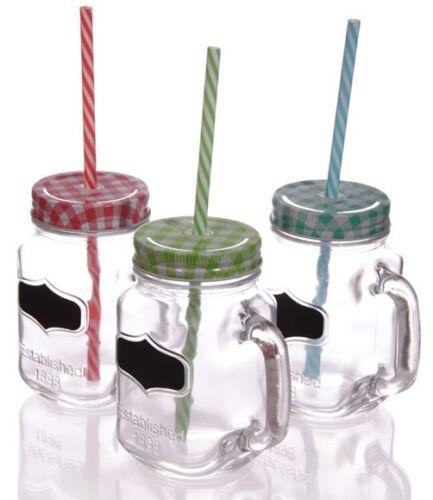 6er Set Gläser beschreibbar mit Deckel Strohhalm im Tragekorb Vintage Glas