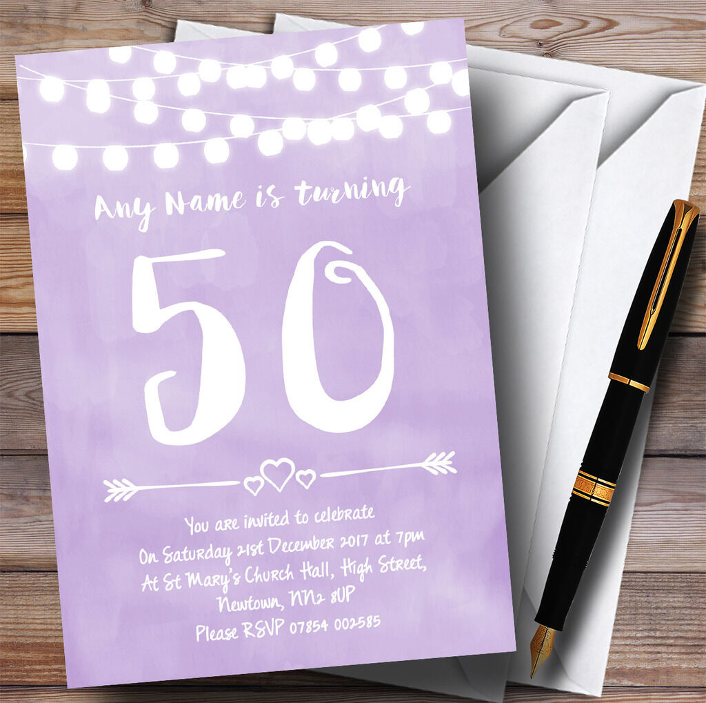 lila Lilac Lights 50th Personalised Birthday Party Invitations