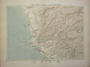 c1890 ANTIQUE MAP ~ LIMA FROM CHANCAY TO PACHACAMAC CALLAO