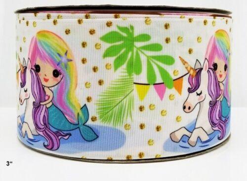 3 inch Grosgrain Ribbon HAIR BOW SUPPLY WHOLESALE Mermaid and Unicorn