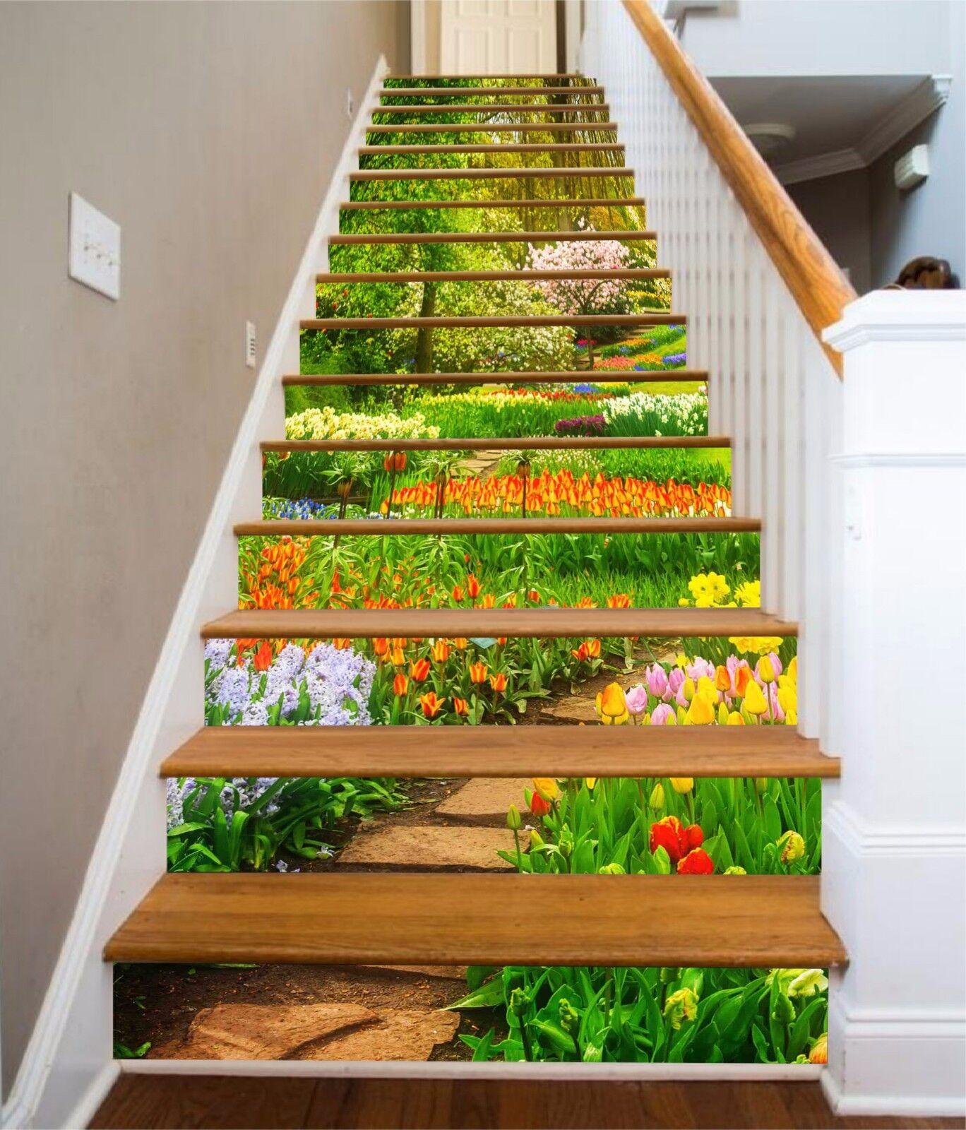 3D Lawn grass road4 Stair Risers Decoration Photo Mural Vinyl Decal Wallpaper UK