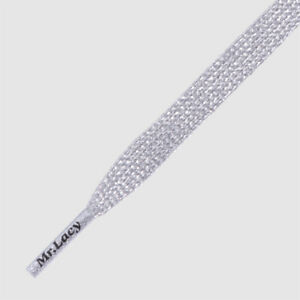 Premium Laces Flat Black Laces with Silver Metal Tip Shoelaces Mr Lacy Flatties