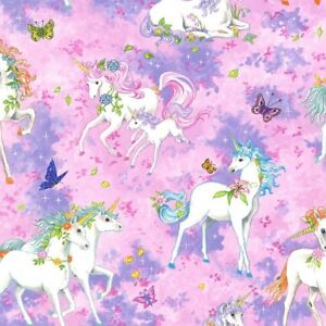 Fat Quarter Pretty Please Fantasy Unicorn Family Cotton Quilting Fabric 55x50cm