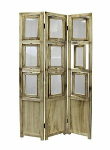 eHemco 3-panel Folding Photo Screen/Room Divider in natural oiled vintage finish