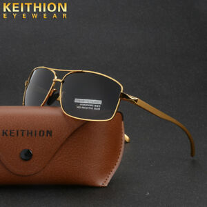 Polarized-Sunglasses-Men-039-s-Retro-Square-Metal-Outdoor-Drving-Eyewear-Glasses