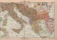 Landkarte map 1929. ITALIEN. BALKAN-INSELN.