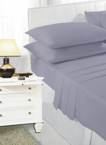 """16/"""" Plain Dyed Poly Cotton Pillowcases Bed Sheets Extra Deep Fitted Sheet 40CM"""