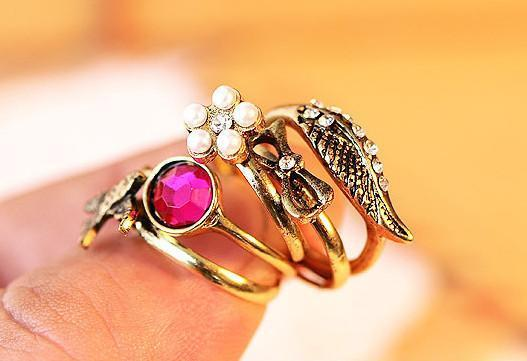 HOCA  Vintage Retro Style Rhinestone Wings Flower Swallow Bowknot 5pcs Set Rings