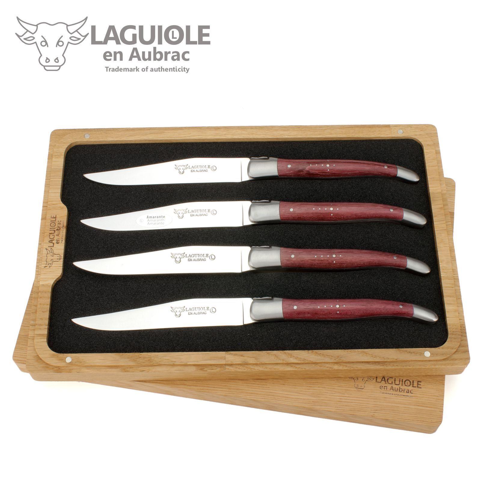 Laguiole en Aubrac-quattro Coltello da bistecca dalla Francia - AMARANTO LEGNO COLTELLI DA TAVOLA