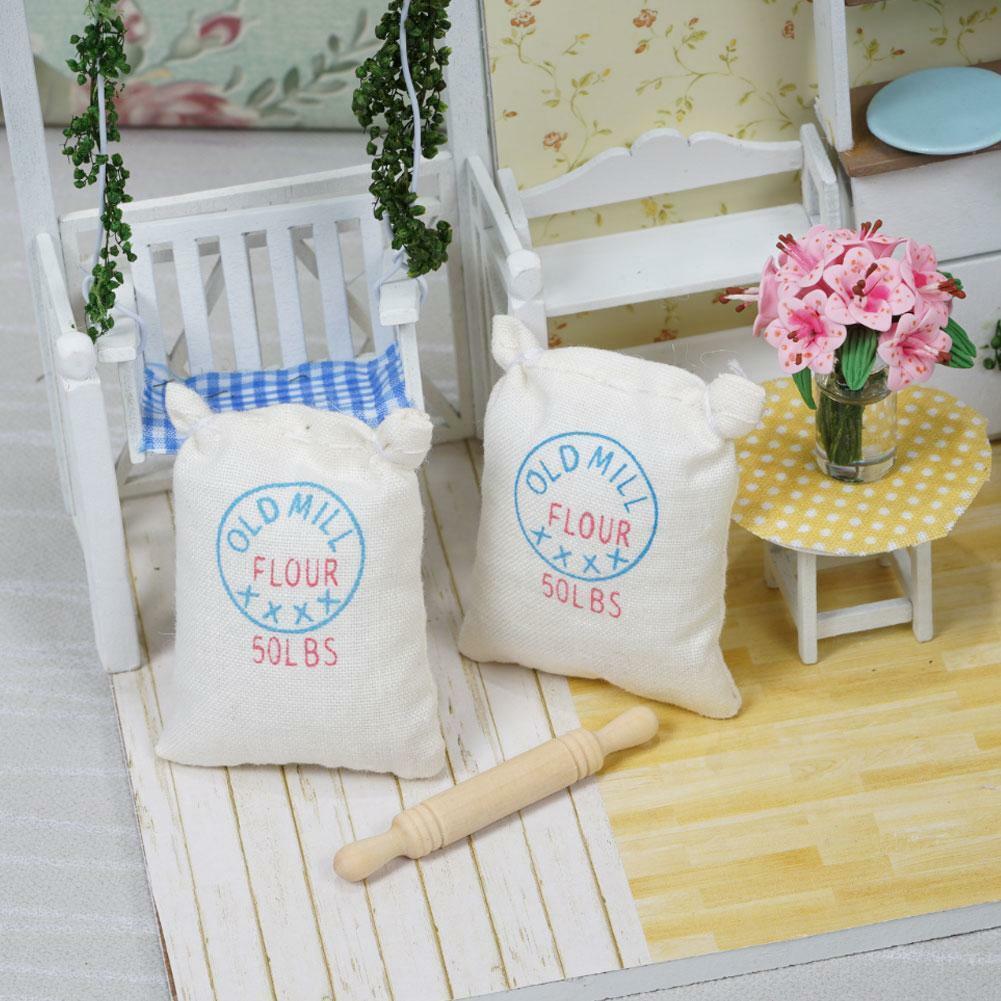 2pcs Bag Flour Sack w/ Wood Rolling Pin Miniature Food I9Q7 1:12 TI W5N0