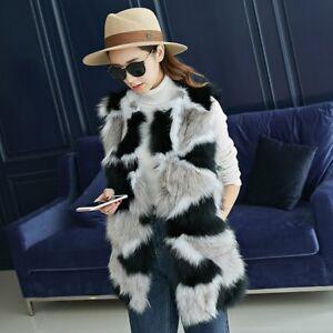 aa6d104428 Dettagli su Giacca cappotto gilet pelliccia ecologica bianco nero morbido  cappuccio 1345