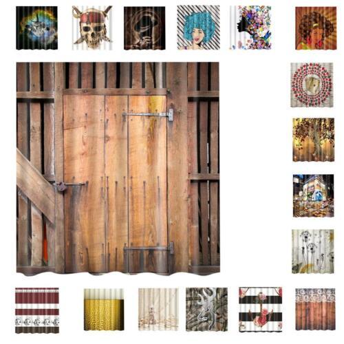 Polyester Bathroom Shower Curtain Panel Sheer Decor+12 Hooks Bathroom Use