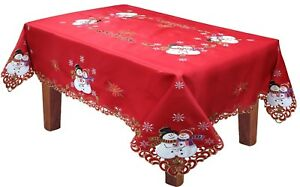 Holiday-Christmas-Snowman-Snowflake-Poinsettia-Tablecloth-With-Napkins-RED-Gold