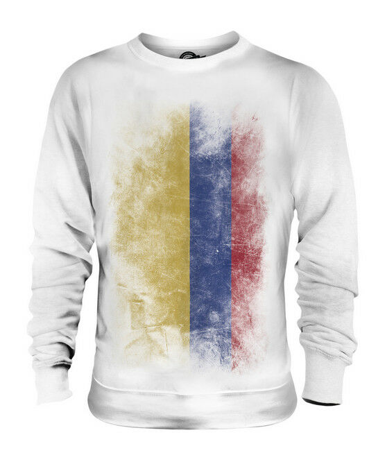 COLOMBIA FADED FLAG UNISEX SWEATER TOP COLOMBIAN SHIRT FOOTBALL JERSEY GIFT