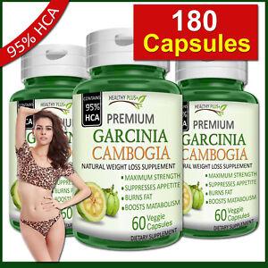 180-Capsules-GARCINIA-CAMBOGIA-95-HCA-Fat-Burn-Diet-Slim-Weight-Loss-Natural