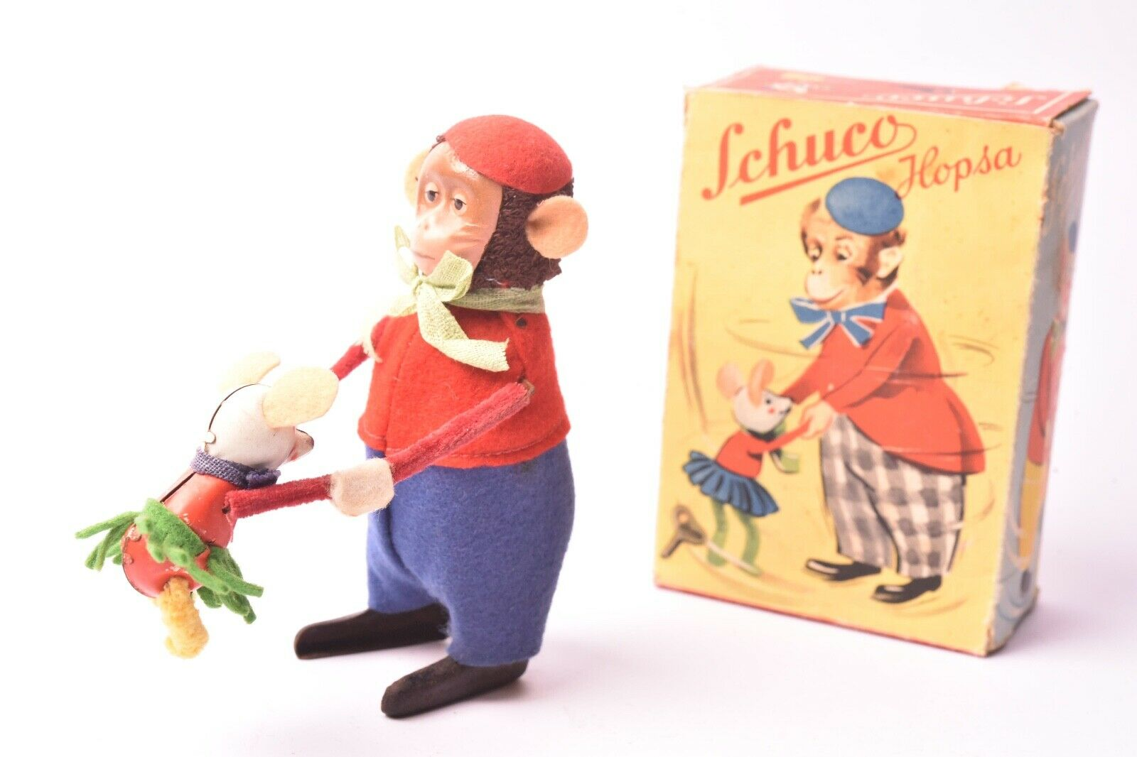 Toy Ancien. Mouse Dancers, Schuco Germany, around 1950, Sheet Metal Lithographed