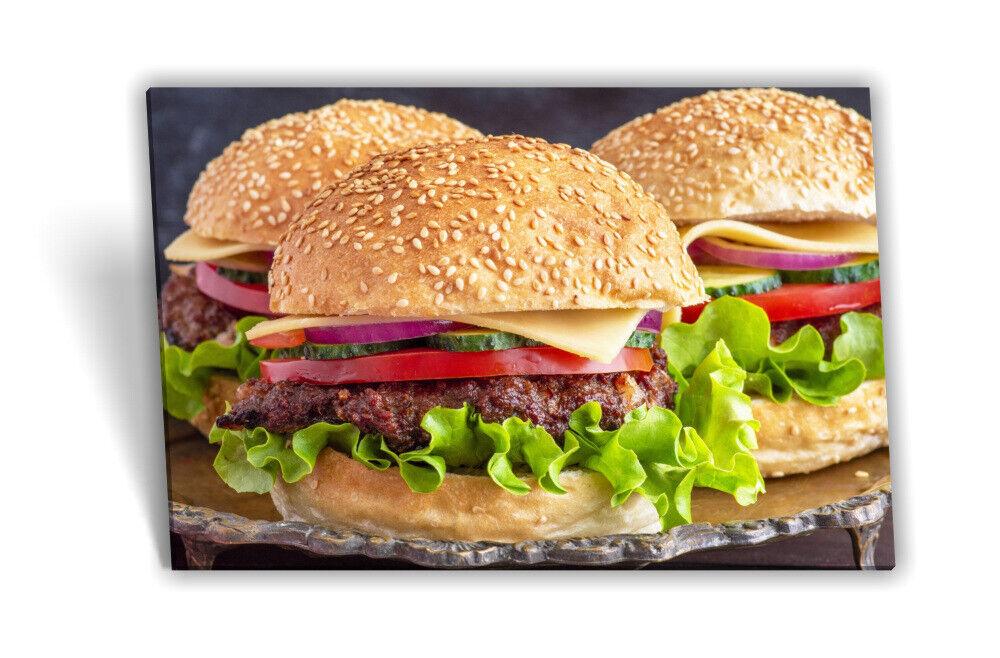 Leinwand-Bild Keilrahmen-Bild Hamburger Pizzeria Fast Food Essen Salat Fleisch