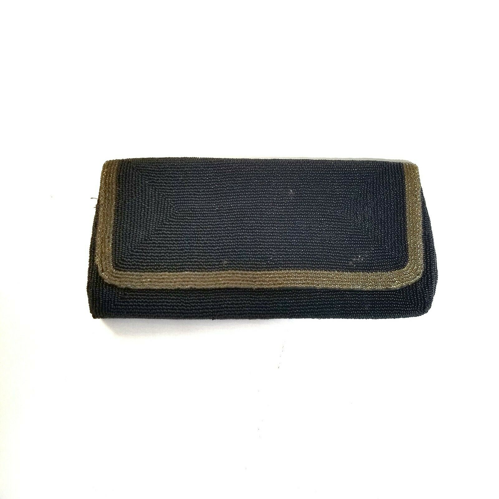 Vintage Walborg Black Gold Beaded Clutch Purse Pockets