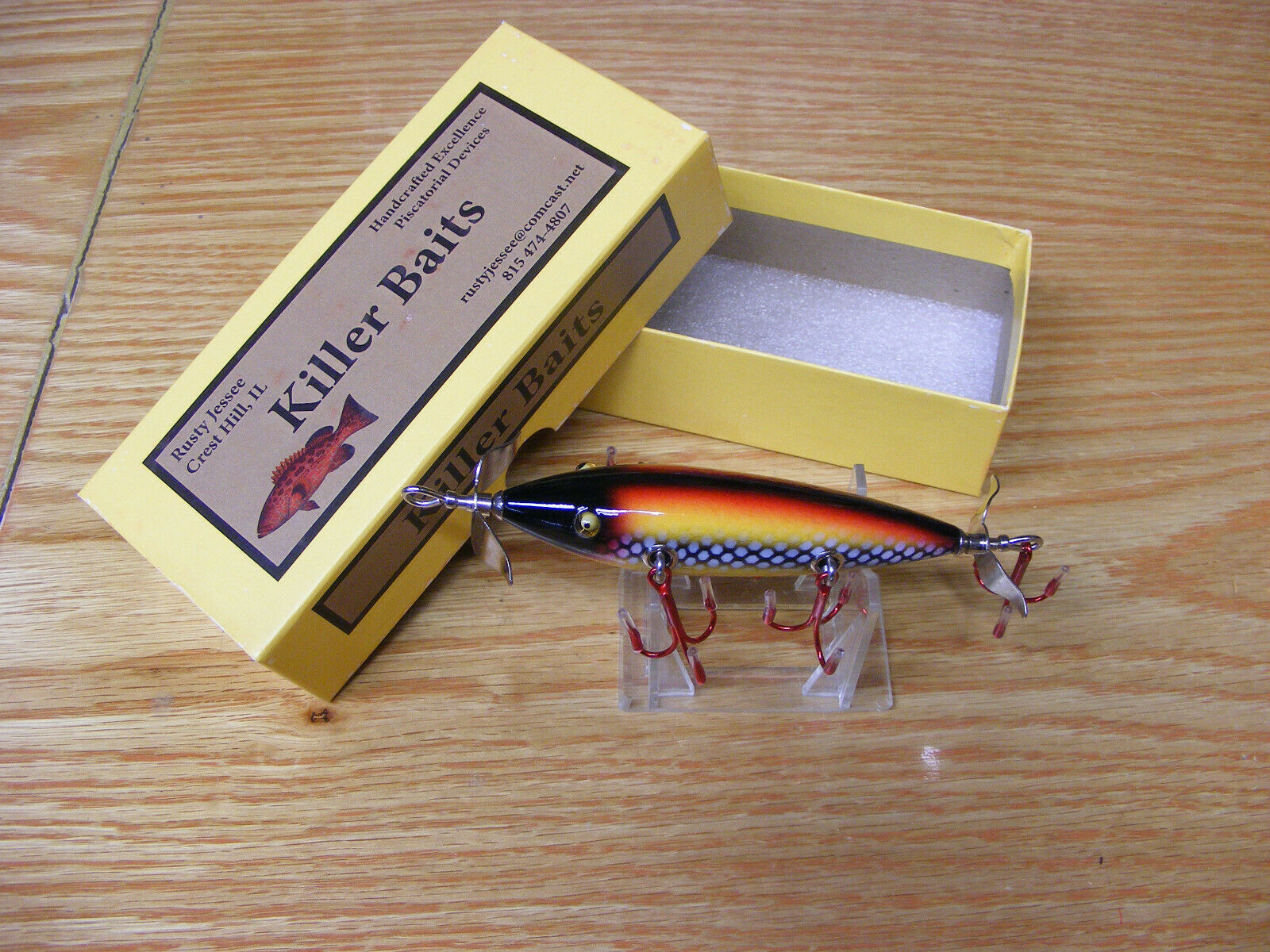 Killer Baits Rusty Jessee Heddon Little  Sac Style Glasseye 150 in White Scale  support wholesale retail