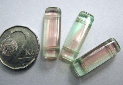 URANIUM Glass Bead Rectangle with 2 Holes 24x8mm UV Rose-Green 4pcs