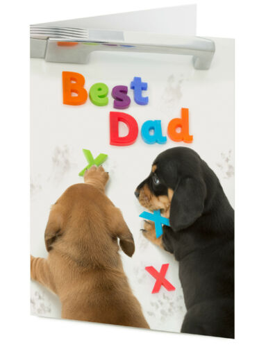 BEST DAD Dachshund puppy dogs leave message on fridge Birthday Father/'s day card