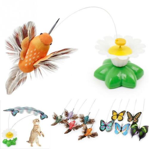 Electric Rotating Butterfly Bird Rod Wire Cat Teaser Play Toy Pet Cat Kitten