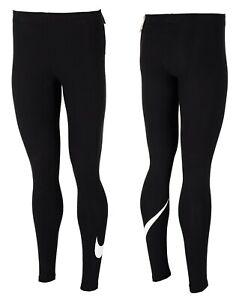 Nike-Women-Leggings-Fitness-Logo-Black-Size-S-M-L-XL-2XL-Tight-Fit-Sport-Jogging
