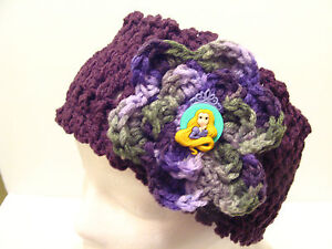 Crochet Head Wrap Ear Warmer Hat Cap with RAPUNZEL Tangled BUTTON - Crocheted