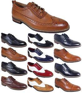 Parrazo Men Dress Shoes Wingtip Oxford Leather Lined Lace Up Black