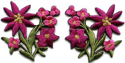 Hot pink lilies pair flowers floral bouquet boho applique iron-on patch S-1006