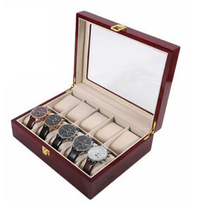 10-Grids-Watch-Box-Display-Case-Jewelry-Collection-Storage-Organizer-UK-DCUK