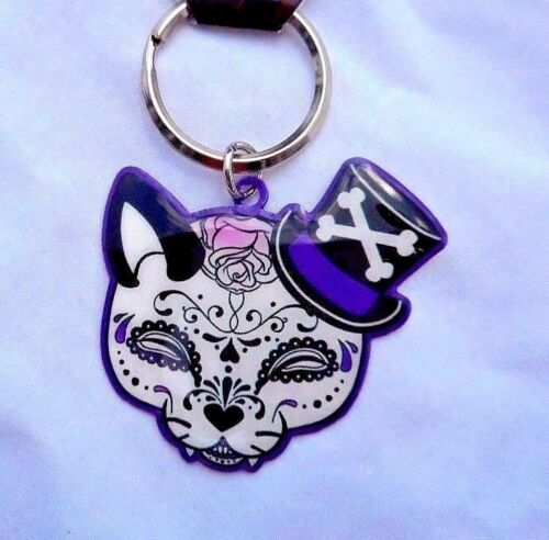 Lucky Cat Baron Top Hat Day Of The Dead Cat Metal Key Ring New