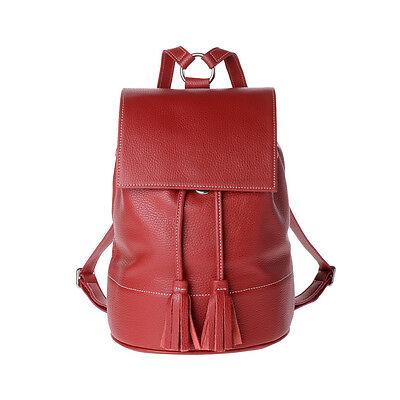 Sac à dos pour femme en cuir made in Italy avec rabat et cordon de DUDU Rouge