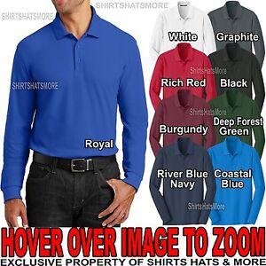 Mens LONG SLEEVE Polo Shirt Easy Care Cotton/Poly XS-XL 2XL, 3XL ...