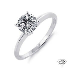14k White Gold 0.25 CT Round Natural DIAMOND SOLITAIRE Engagement RING APPRAISAL