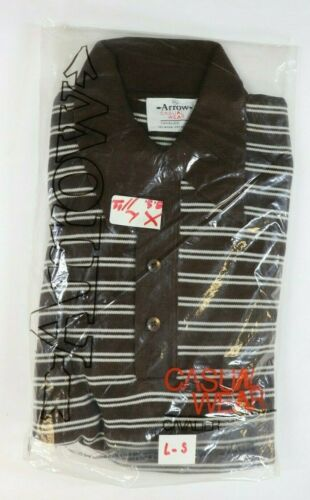 1960s VTG NOS Brand NEW Arrow Brown Stripe Long Sl