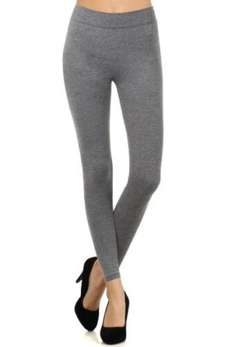 Shosho French Terry Cotton Blend Body Slimming Solid Seamless Leggings BEIGE