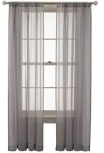 Martha Window Set of 2 Flutter Rod Pocket Panels Gray Storm Front 50 X 84
