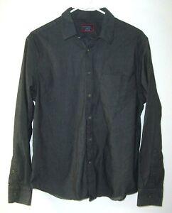 UNTUCKit-Mens-Long-Sleeve-Dark-Charcoal-Gray-100-Cotton-Button-Front-Shirt-Sz-M