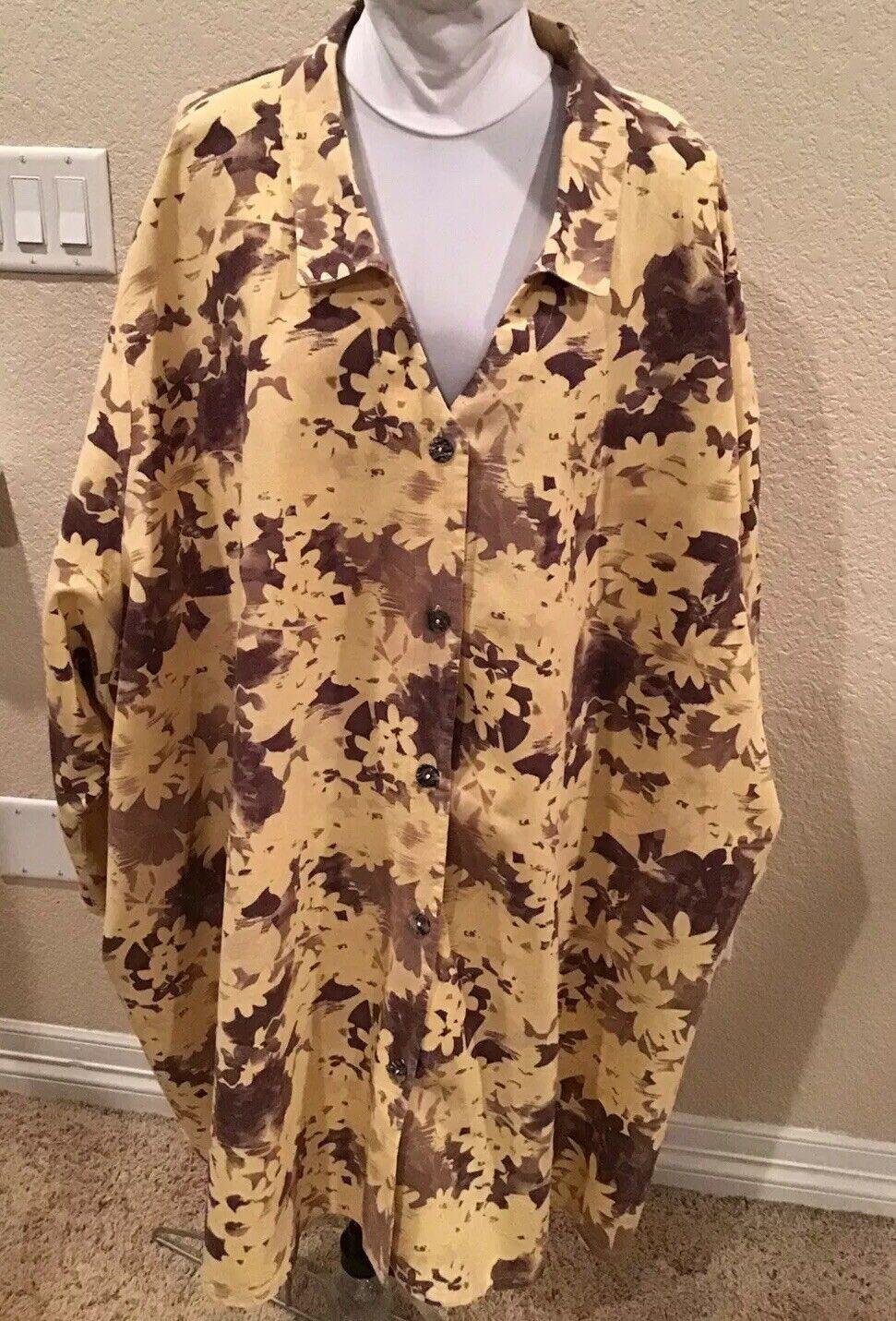 Making It Big MIB braun Floral damen's Top Shirt Linen  Blouse Plus Größe 7X