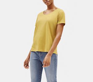 NWT-Eileen-Fisher-ORGANIC-COTTON-JERSEY-U-NECK-TEE-TOP-Shirt-FERN-Size-XS