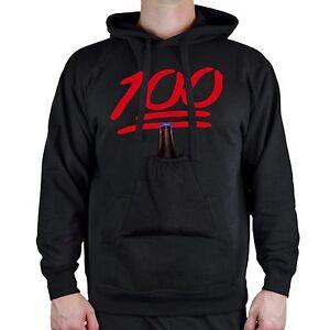 Hoodie Black Humor Party Pocket Pouch Emoji Beer Sweater 100 College Cozy Men's CwXOqaEZ