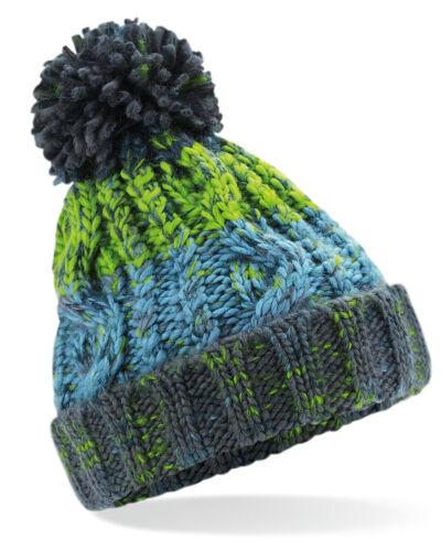 Beechfield Boys Girls Junior Corkscrew Pom Pom Beanie Knit Winter Warm  B486B