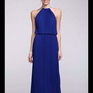 90eeabc1da64 Image is loading Xscape-Pleated-Chiffon-Halter-Maxi-Long-Evening-Dress-